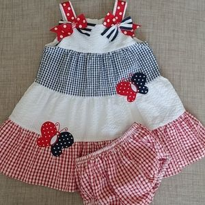 Rare Editions Red White Blue Butterflies Dress